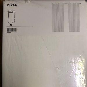 Ikea Vivan Pair of White Cotton Curtain Panels